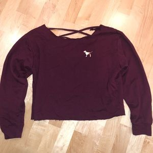 VS PINK Cropped Maroon Crew Neck